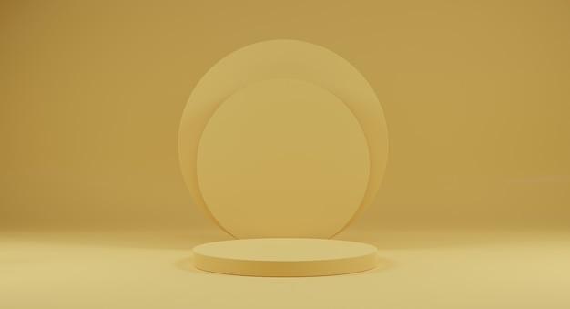 Renderização 3d. fundo mínimo abstrato. cena amarela do pódio para publicidade, anúncios de cosméticos, vitrine, banner.