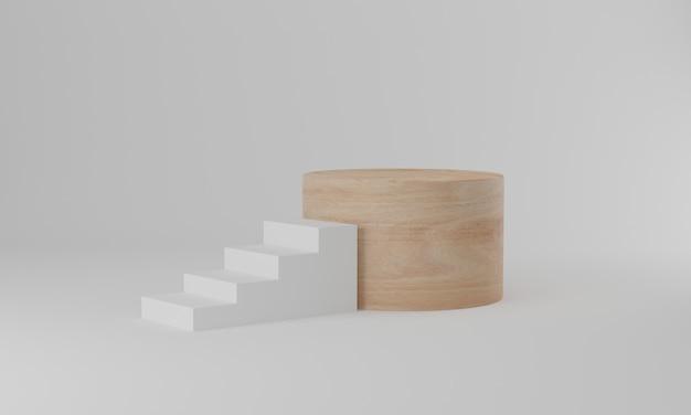 Renderização 3d. fundo mínimo abstrato, escadas brancas com pódio de cilindro de madeira em fundo branco