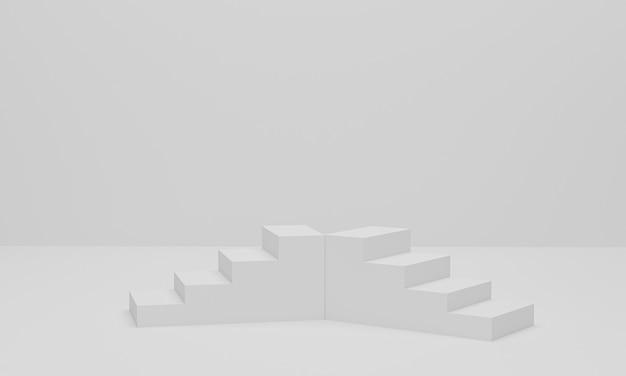 Renderização 3d. fundo mínimo abstrato, escadas em fundo branco
