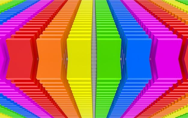 Renderização 3d. fundo moderno da arte da parede do projeto de bloco do painel da cor do arco-íris de lgbt da aleta.