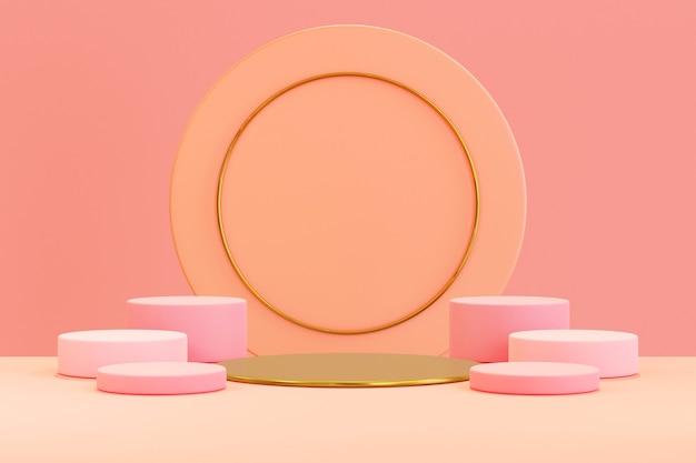 Renderização 3d, fundo pastel abstrato com forma geométrica, pódio para o produto, conceito mínimo, cor do outono
