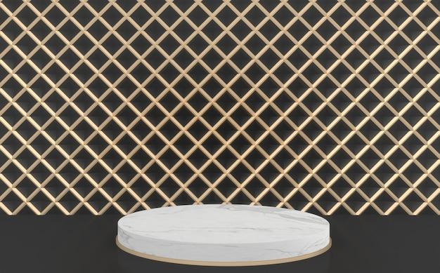 Renderização 3d fundo preto e dourado e círculo branco pódio.