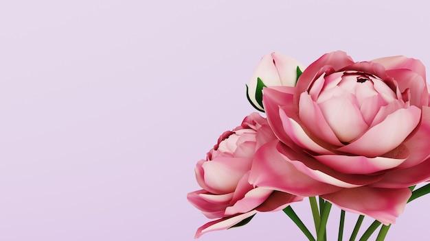 Renderização 3d. fundo rosa com flores para 8 de março