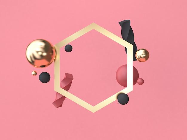 Renderização 3d fundo vermelho-rosa mínima forma geométrica abstrata flutuante renderização em 3d moldura de ouro