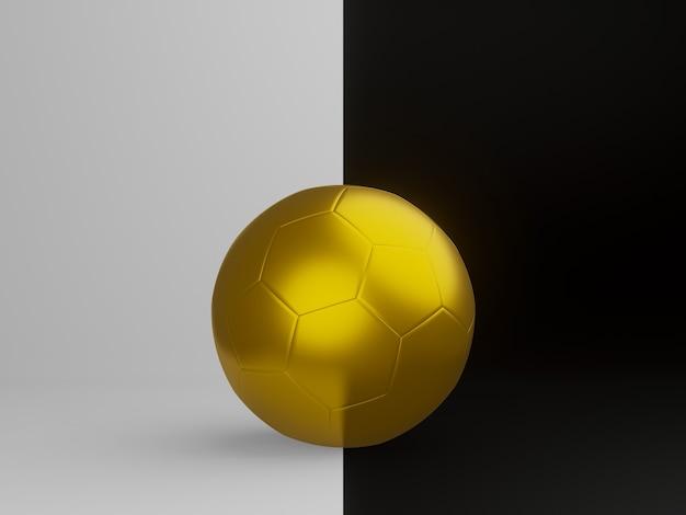 Renderização 3d. futebol dourado