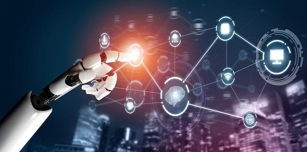 Renderização 3d futurista de desenvolvimento de tecnologia de robôs, inteligência artificial ia e conceito de aprendizado de máquina