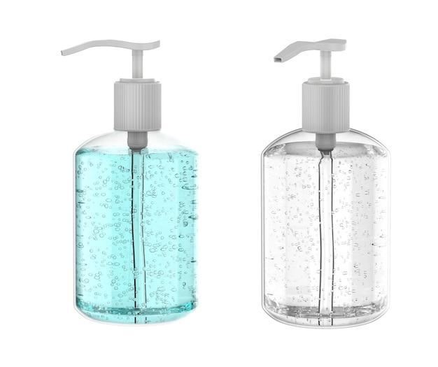 Renderização 3d gel higienizado em frasco de bomba isolado no branco