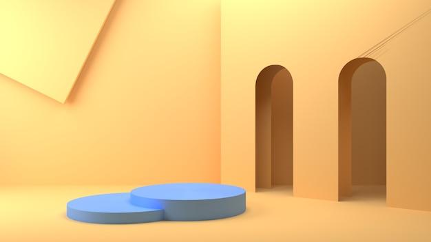 Renderização 3d geométrica cena azul do pódio