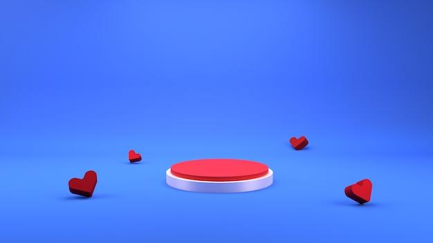 Renderização 3d geométrica cena de pódio e fundo de amor