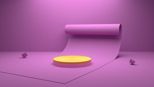 Renderização 3d geométrica e cena de pódio de papel de fundo para o produto