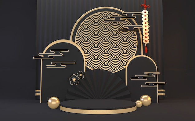 Renderização 3d geométrica mínima do pódio em black dark