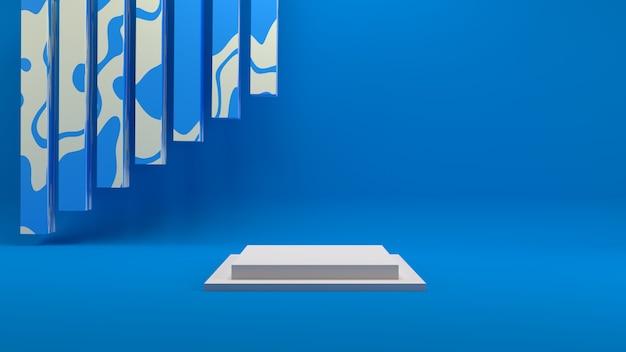Renderização 3d geométrica no fundo azul da cena do pódio