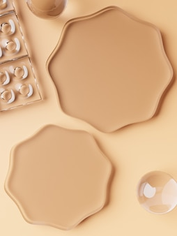 Renderização 3d geométrica ou forma abstrata de placas de vidro acrílico fundo de exibição do produto