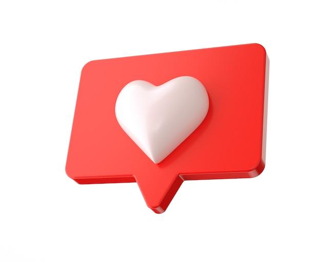 Renderização 3d, gostar ou adorar ícone de mídia social isolado no fundo branco