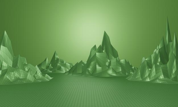 Renderização 3d. grade de montanha de baixo poli. paisagem de estrutura de arame topográfica verde.