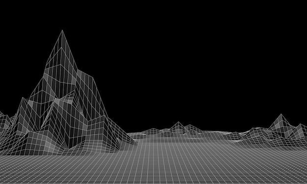 Renderização 3d. grade de montanha de baixo poli. terreno topográfico em preto e branco.