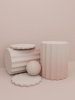 Renderização 3d gradient color studio shot fundo de exibição do produto com plataforma de pilar redondo