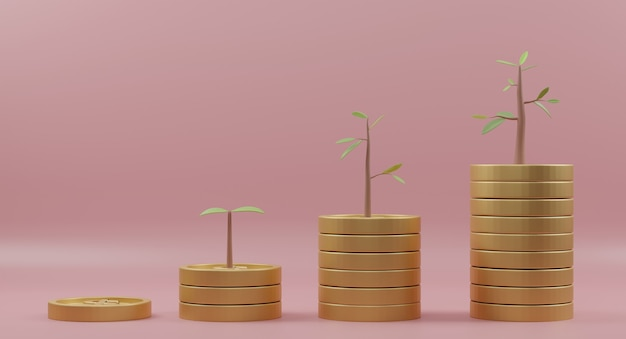 Renderização 3d. gráfico de crescimento de pilha de moedas com árvores em fundo rosa. conceito de investimento empresarial e economia de dinheiro.