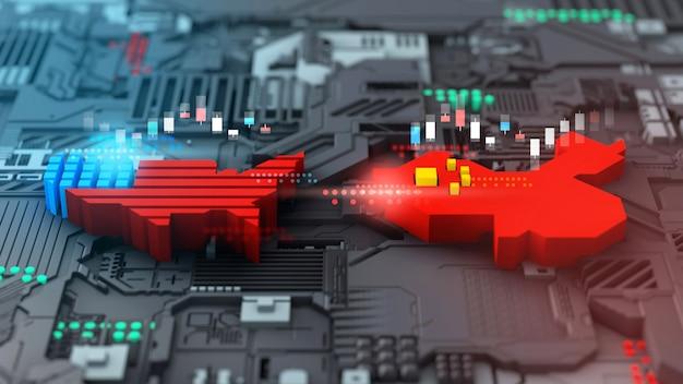 Renderização 3d guerra comercial do mercado de ações do setor de tecnologia entre a américa e a china