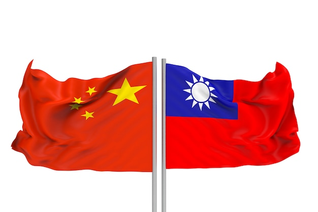 Renderização 3d. hasteadas bandeiras nacionais da china e taiwan