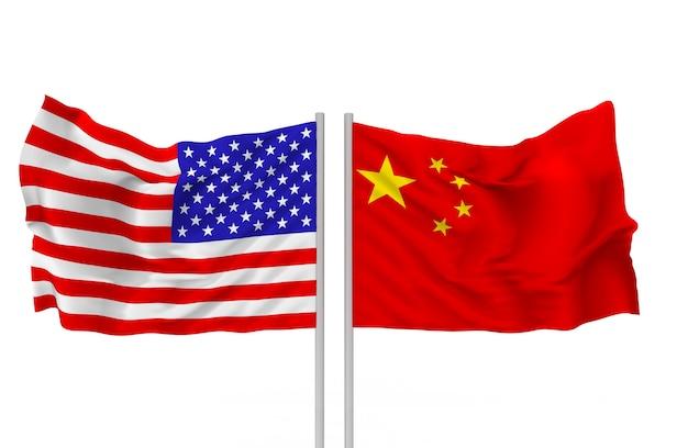 Renderização 3d. hasteadas bandeiras nacionais dos eua e china