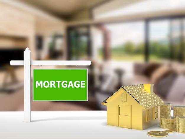 Renderização 3d hipoteca casa sinal com fundo da casa