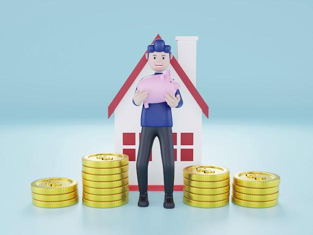 Renderização 3d homem segurando o cofrinho salvar conceito de dinheiro pilha de moedas com a casa
