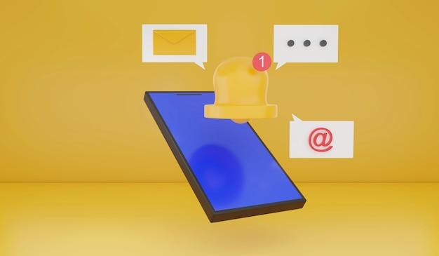 Renderização 3d ícone de alerta de notificação de smartphone conceito de tecnologia de gadget inteligente contato entre si