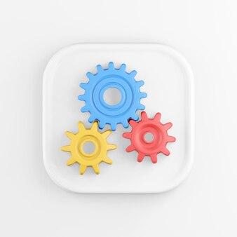 Renderização 3d ícone de botão quadrado branco, engrenagens multicoloridas isoladas no fundo branco.