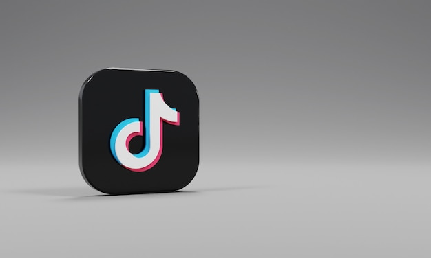 Renderização 3d ícone logotipo tiktok realista