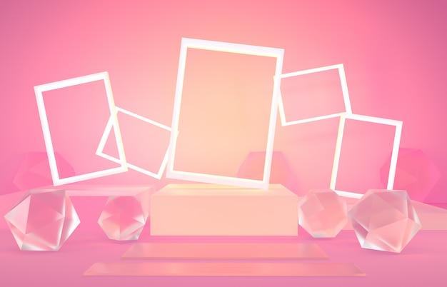 Renderização 3d, ilustração 3d, abstrato cena de cor pastel em branco forma de pódio geométrico fundo moderno minimalista mock up vitrine