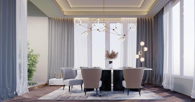 Renderização 3d, ilustração 3d, cena interior e maquete, a sala de jantar tem um jardim na casa. grandes janelas, piso de madeira, lâmpadas de teto.