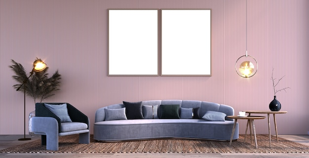 Renderização 3d ilustração 3d cena interior e maquete de quadro dois quadros grandes com paredes de ripas
