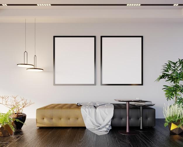 Renderização 3d, ilustração 3d, cena interior e maquete de quadro, local relaxante, exibição de fotos, parede branca, decorações com folhas verdes, assento preto e marrom. Foto Premium