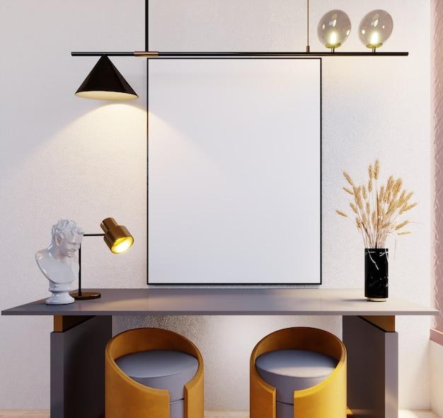 Renderização 3d, ilustração 3d, cena interior e maquete de quadro, molduras, lâmpadas de parede, bancos, mesas e / ou consoles.