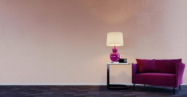 Renderização 3d, ilustração 3d, cena interior e maquete, parede bege com poltrona moderna roxa e mesa de centro decorada com piso de madeira parqué e abajur