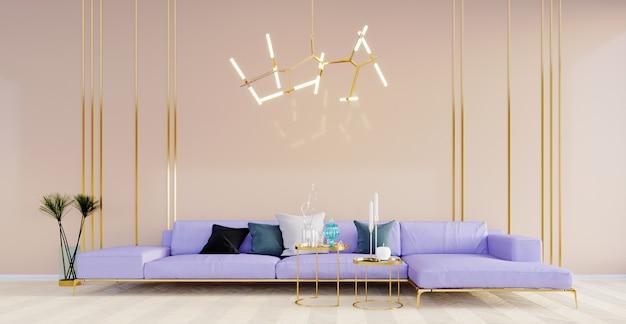 Renderização 3d, ilustração 3d, cena interior e maquete, parede bege e linha dourada inoxidável com sofá moderno e luz pendente