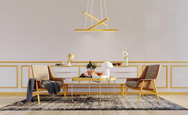 Renderização 3d, ilustração 3d, cena interior e maquete, parede branca com 2 poltronas modernas e mesa de centro, painéis decorativos com moldura de madeira e luminária de teto moderna