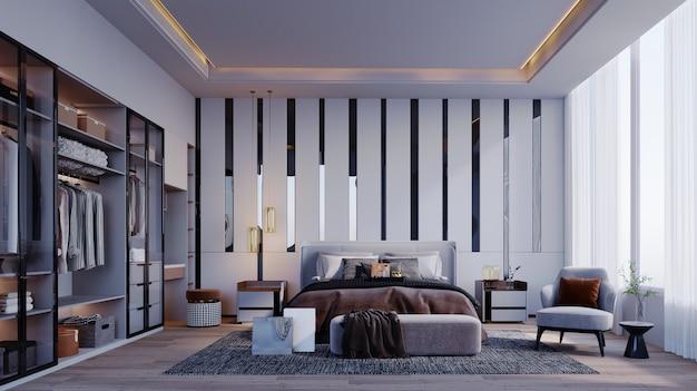 Renderização 3d, ilustração 3d, cena interior e maquete, quarto e camarim em tons de cinza móveis modernos a parede da cama é decorada com um espelho cinza. luzes de teto escondidas.