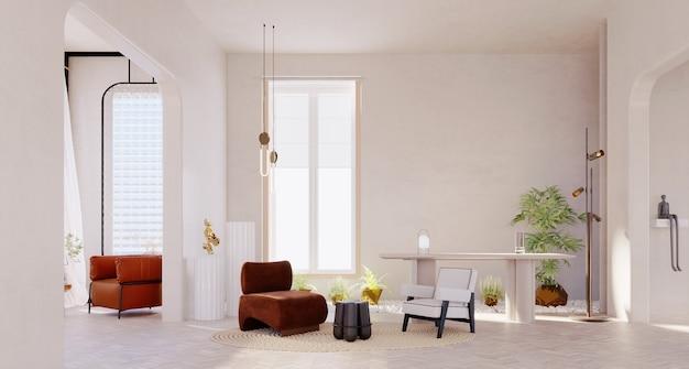 Renderização 3d, ilustração 3d, cena interior e maquete, sala de escritório moderna com paredes brancas e jardim interior.