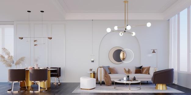 Renderização 3d, ilustração 3d, cena interior e maquete, sala de estar e sala de jantar móveis marrons e dourados, paredes brancas, lâmpadas iluminadas de ouro. teto de dois degraus.