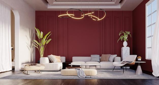 Renderização 3d, ilustração 3d, cena interior e maquete, sala de estar luxuosa moderna com paredes vermelhas brilhantes.
