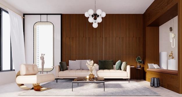 Renderização 3d, ilustração 3d, cena interior e maquete, sala de estar moderna com parede de madeira marrom escura.