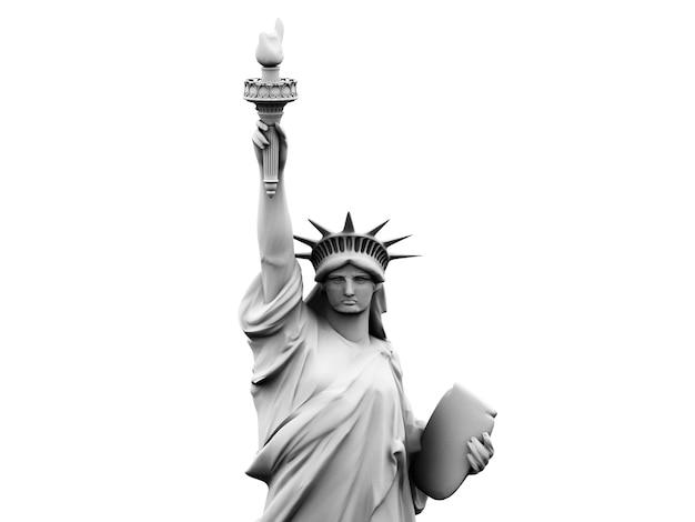 Renderização 3d, ilustração 3d da estátua da liberdade