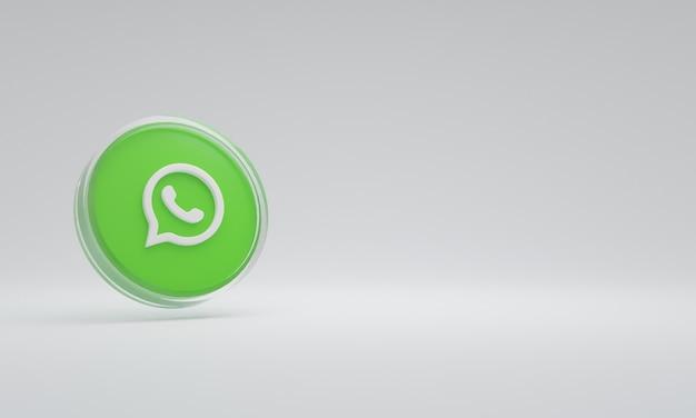 Renderização 3d ilustração ícone logo vidro whatsapp