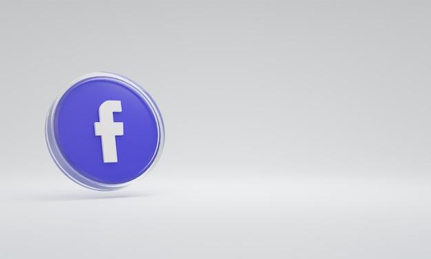 Renderização 3d ilustração ícone logotipo vidro facebook