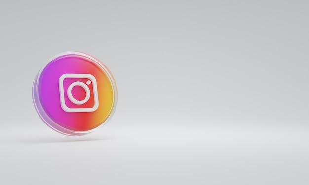 Renderização 3d ilustração ícone logotipo vidro instagram