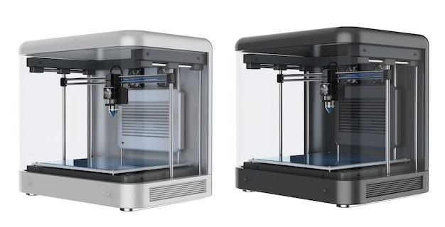Renderização 3d impressora 3d com bico injetor isolado