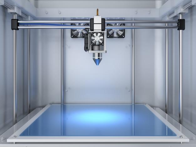 Renderização 3d impressora 3d com bico injetor