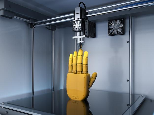 Renderização 3d impressora 3d com mão robótica